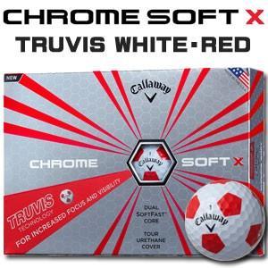 キャロウェイ CHROME SOFT X(クロム ソフト エックス) TRUVIS(トゥルービス) ≪WHITE/RED≫ ボール (12球) 【数量限定品】|feap