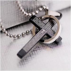 ネックレス メンズ ブラッククロス&リングデザイン 十字架 ユニセックス