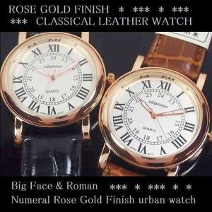 8e312c50c8 腕時計 メンズ PUレザーベルト ビッグフェイス ステンレス ローマ数字 保証書 ウォッチ 日本製ムーブメント ローズゴールド仕上げ ラウンド