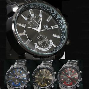 腕時計 メンズ ウォッチ ビッグフェイス ブラック メタルタイプ