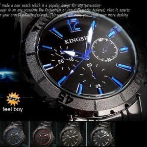 腕時計 メンズ ブラックメタル&マットベゼル ウォッチ クロノ調デザイン