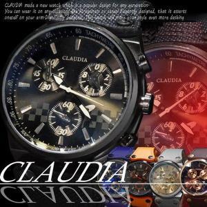 クロノグラフ調ウォッチ革バンド腕時計...