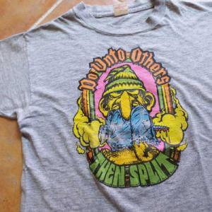 中古70's HealthKnit ヘルスニット Do Unto Others THEN SPLIT ラバープリント Tシャツ 杢グレー M古着 mellow|feeling-mellow