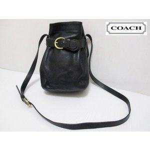 COACH/コーチ 本革 レザー 巾着風 ミニ ショルダー バッグ ブラック No K6H-4156|feeling-mellow
