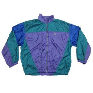 NIKE/ナイキ 刺繍・ワッペン付き ジップアップ ウインドブレーカー 紫×緑系×青 サイズ:M feeling-mellow