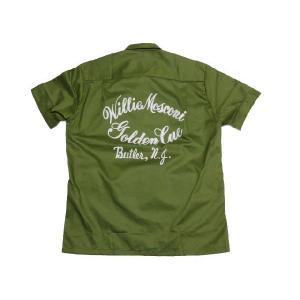 70's Deadstock Conte Vendicci ボックス型 プリント・刺繍入り 半袖ループシャツ オリーブ系|feeling-mellow