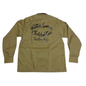 Deadstock FRUIT OF THE LOOM ボックス型 プリント入り ポリ×コットン 長袖シャツ 黄土色系 Made in U.S.A|feeling-mellow