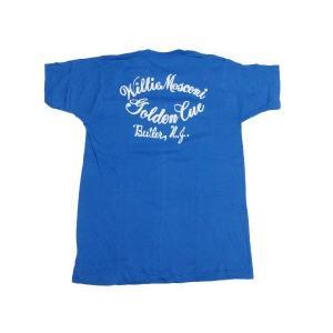 Deadstock プリント入り ポケット付き Tシャツ ブルー系 Made in U.S.A サイズ:M|feeling-mellow