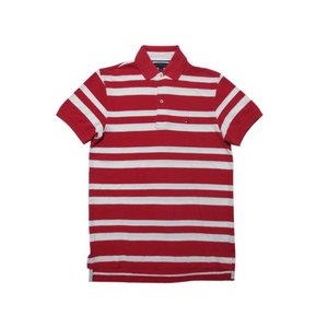 TOMMY HILFIGER トミー ヒルフィガー ボーダー 半袖 鹿の子 ポロシャツ 赤×白|feeling-mellow