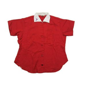 Deadstock King Louie/キングルイ ポリ×レーヨン 開襟 ボウリングシャツ 赤×白 Made in U.S.A サイズ:Women's 34アメカジ 古着 mello feeling-mellow