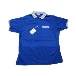 Deadstock King Louie/キングルイ ポリ×コットン ボウリングシャツ 青×白 Made in U.S.A サイズ:Lアメカジ 古着 mellow|feeling-mellow