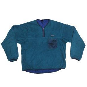 patagonia CAPILENE/パタゴニア ハーフジップ ヘンリーネックタイプ プルオーバー  フリースジャケット 青緑系 Made in U.S.A  サイズ:XL|feeling-mellow