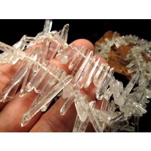 ◆チュラルポイント◆一連◆天然水晶ナチュラルポイント連クレオ穴◆縦約10-30mm◆約39cm◆  ...