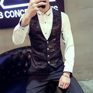 ベスト 新品メンズ カジュアルベスト メンズファッション vest バーテン服 個性 細身 スリム パーティー 紳士服 春 結婚式 フォーマルベスト|feerita