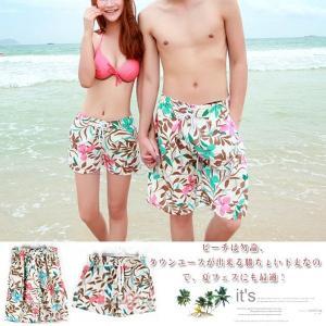 レディースサーフパンツ水着メンズ花柄海パンビーチショーツスイムパンツ|feerita