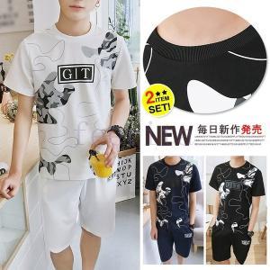 メンズ 大きいサイズ 上下セット トップス シャツ Tシャツ ボタムス ショートパンツ 丸ネック ラウンドネック プリント コーデ 個性 シンプル|feerita