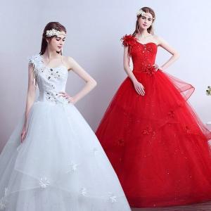 特価安い花嫁ドレスウェディングドレス二次会ウエディングドレス編み上げレース刺繍二次会ドレスロングドレス花嫁ドレスベアトップビスチェ feerita