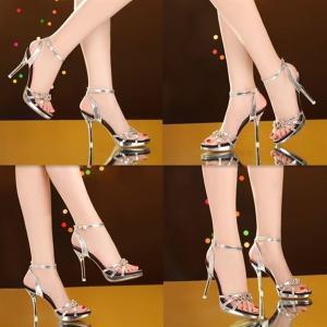 パンプスヒール痛くないハイヒールレディースパーティー結婚式アンクルストラップレディースシューズ靴ポインテッドトゥ美脚春ピンヒールサンダル feerita