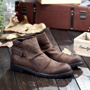 ショットブーツメンズスリッポンシークレットシューズ5センチUPイギリス風牛革サイドジップ靴ライダー紳士靴|feerita