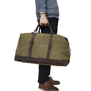 ボストンバッグキャンパス高級本革メンズ旅行鞄2色トラベルバッグメンズレザー大容量手提げ鞄帰省出張旅行55cm|feerita