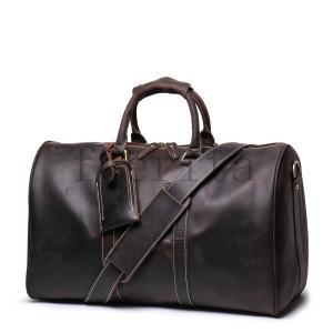 ボストンバッグ本革超耐久メンズ旅行鞄レザー手提げ鞄小旅行トラベルバングブラウン旅行出張底鋲付き45cm機内持ち込みゴルフ鞄|feerita
