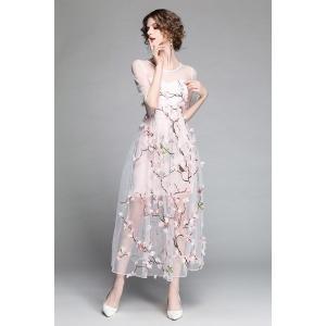 欧米ブランドデザイン高級感結婚式チュールワンピース透かし彫りレースパーティードレス花柄ワンピース