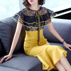 欧米ブランド設計大大人ドレス女らしいワンピースマーメイドワンピースフォーマルドレスフリルワンピースミ...