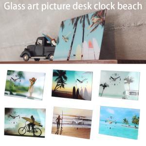 置き時計 おしゃれ 海 ビーチ インテリア 雑貨 ガラスアートピクチャー デスククロック ビーチ