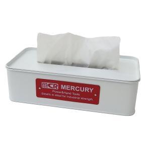 Mercury マーキュリー ブリキティッシュボックス ホワイト ティッシュボックス