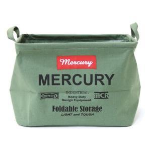 Mercury マーキュリー キャンバス レクタングルボックス M カーキ ファブリック収納