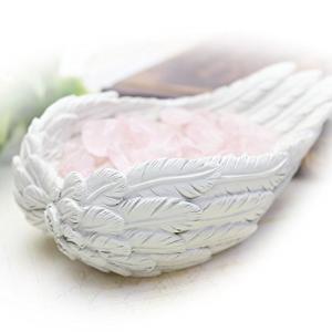 さざれチップ付天使の羽皿 ブレスレットの浄化用 浄化皿 ローズクォーツさざれ石&専用ギフトボックス付...