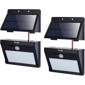 ソーラーライト Vorally 明るい 人感センサーライト 屋外 白光 パネル分離可能 2.5mケーブル付き 3つ点灯モード 夜間自動点灯|felicevoice-store