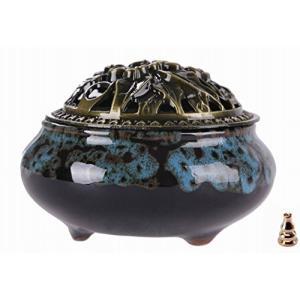 【Rurumiマーケット】陶磁器 香炉 青磁 丸香炉 お香立て 渦巻き線香 などに 香立て付き(青×茶)|felicevoice-store
