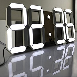 Jコートン LEDデジタル時計 3Dデザイン アラーム機能付き 置き時計 壁掛け時計 明るさ調整 日本語取扱説明書付|felicevoice-store
