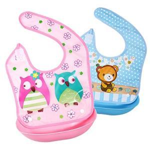 赤ちゃん お食事エプロン シリコン(2点セット)6段調節 6ヶ月から5歳まで適用 保育園 離乳食 柔らかい 防水 清|felicevoice-store