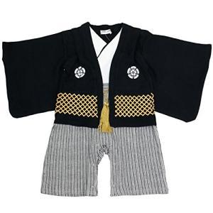 ベビー キッズ 袴風 カバーオール ロンパース 男の子 黒 80cm 10640906BK80|felicevoice-store