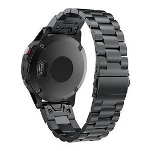 PINHEN GARMINガーミン Fenix 5 バンド 22MM Fenix 5/forerunner 935用ステンレス製 高級腕時計ストラップ 交換ベルド (Black)|felicevoice-store