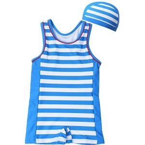 【Babystity】 ベビー 水着 UPF50+ グレコタイプ ボーダー柄 帽子付き 2点セット 男の子 赤ちゃん 70〜100cm (80)|felicevoice-store
