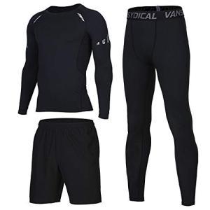 FF.C メンズ スポーツシャツ 三件セット コンプレッションウェア 半袖 長袖 ラウンドネック UVカット 吸汗速乾|felicevoice-store
