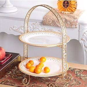 EALLIFE ケーキスタンド 3段 ゴージャスな金枠プレート アフタヌーンティー 皿 セット (2段皿スタンド)|felicevoice-store