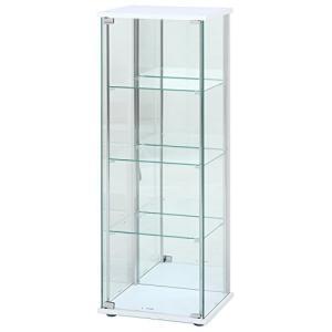 不二貿易 ガラスコレクションケース 4段ロータイプ 幅42.5・高さ120cm 背面ミラー付き ホワイト|felicevoice-store