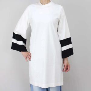 OSKLEN オスクレン 黒ボーダーベルスリーブ白Tシャツワンピース|femme