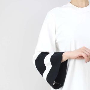 OSKLEN オスクレン 黒ボーダーベルスリーブ白Tシャツワンピース|femme|13
