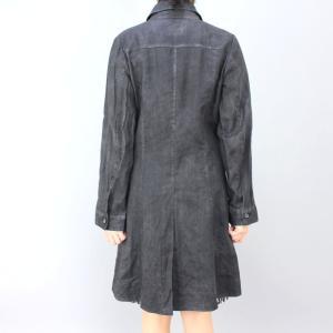 GOKI ゴキ グレーストライプ麻コート|femme|04