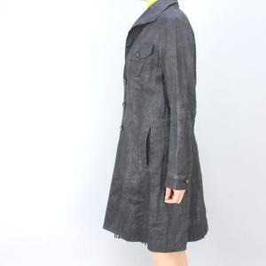 GOKI ゴキ グレーストライプ麻コート|femme|05