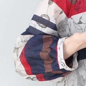 MANOMANO 紺赤ボーダー花柄ブラウス|femme|14