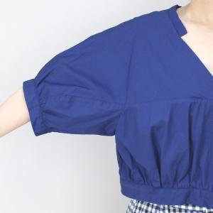 アコーレ ブルー半袖スキッパーショート丈ブラウス|femme|12