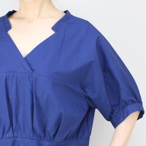 アコーレ ブルー半袖スキッパーショート丈ブラウス|femme|14