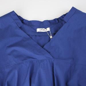 アコーレ ブルー半袖スキッパーショート丈ブラウス|femme|16