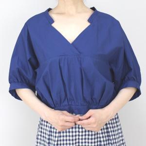 アコーレ ブルー半袖スキッパーショート丈ブラウス|femme|05